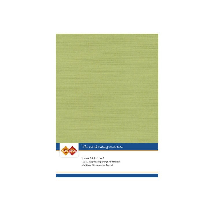Linen Cardstock - A5 - Avocado Green