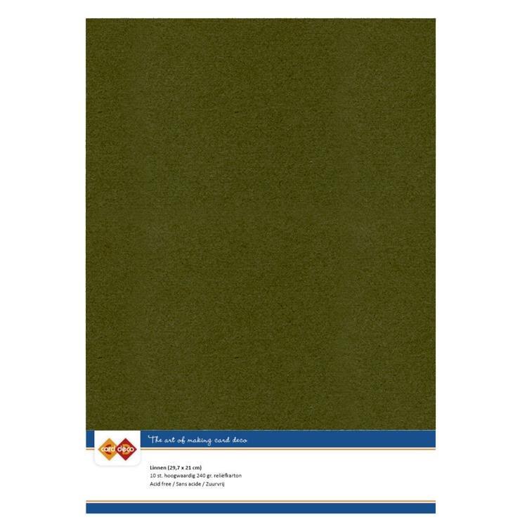 Linen Cardstock - A4 - Pine Green
