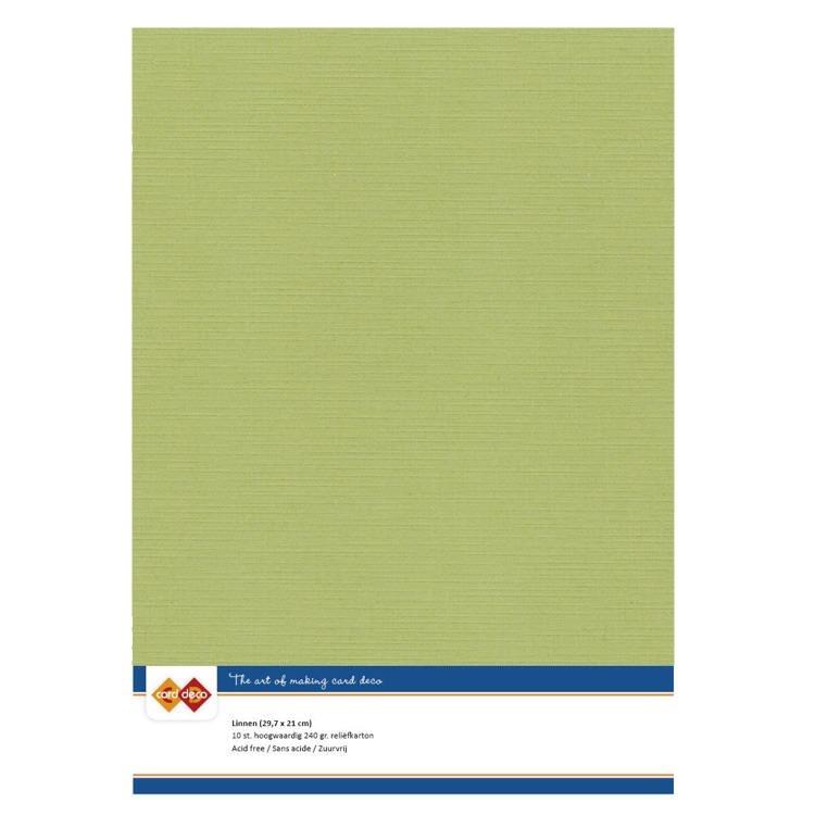 Linen Cardstock - A4 - Avocado Green