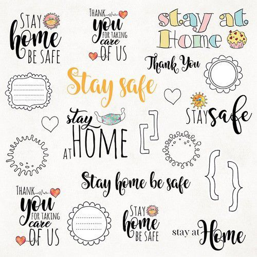 Craft&You Stay at home Sheet of elements to be cut out 12X12 CP-SAH07 (05-20)