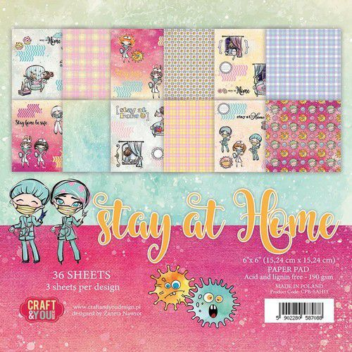 Craft&You Stay at home Small Paper Pad 6x6 36 vel CPB-SAH15 (05-20)