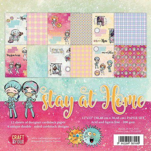 Craft&You Stay at home BIG Paper Set 12x12 12 vel CPS-SAH30 (05-20)