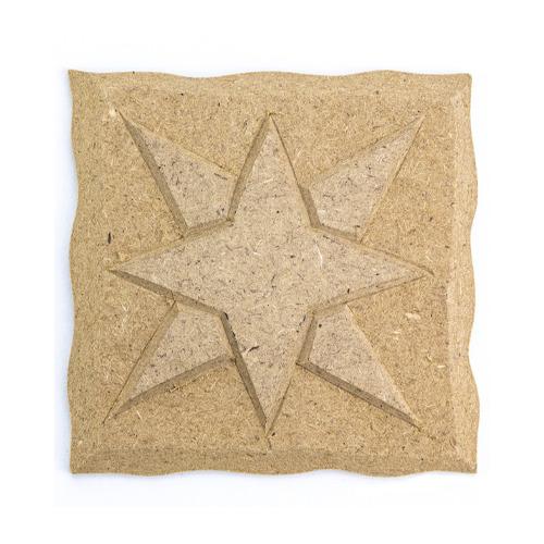 MDF ornament, vierkant met ster