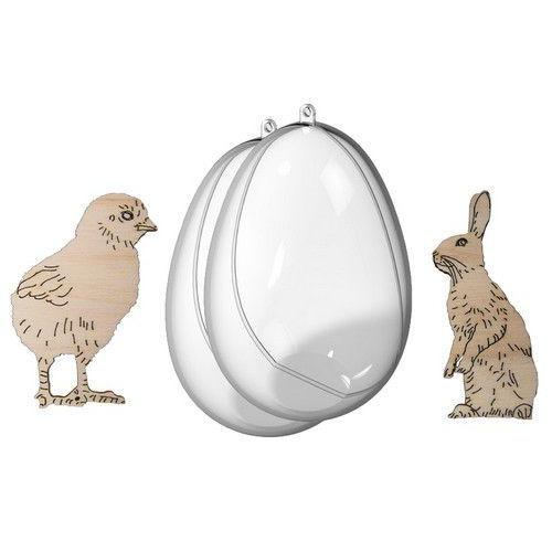 Joy! Crafts Transparante eieren met kuiken en haas 6211/0008 110mm / 77x35mm / 68x48mm