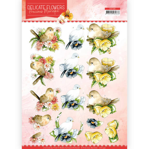 3D Cutting sheet- Precious Marieke - Delicate Flowers - Birds