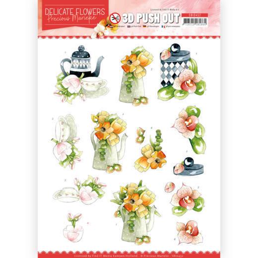 3D Push Out - Precious Marieke - Delicate Flowers - Teapot