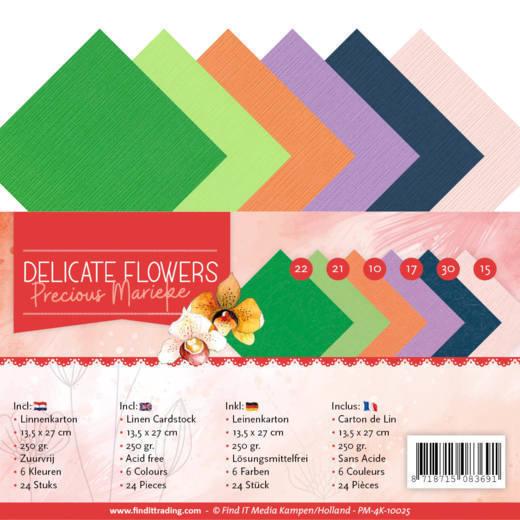 Linen Cardstockset Pack - 4K - Precious Marieke Delicate Flowers