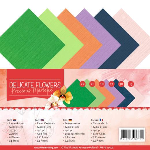 Linen Cardstockset Pack - A5 - Precious Marieke Delicate Flowers