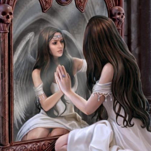 Diamond Painting vrouw spiegel