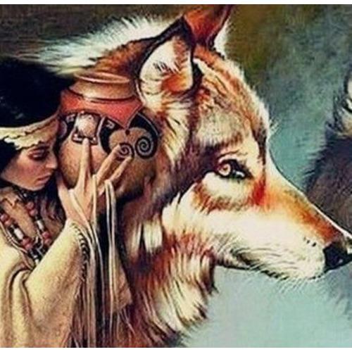 Diamond Painting wolf indiaan