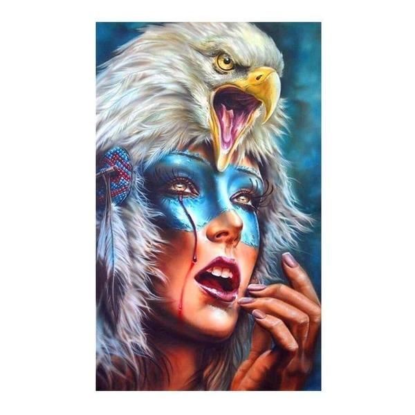 Diamond Painting eagle op hoofd