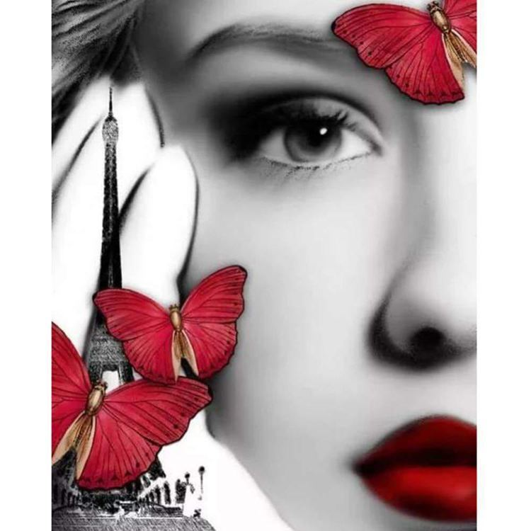 Diamond Painting vrouw vlinder