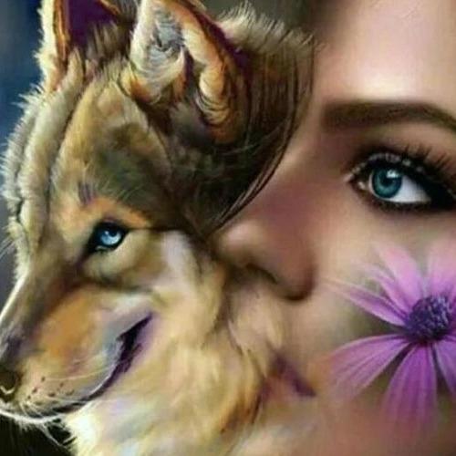 Diamond Painting wolf women