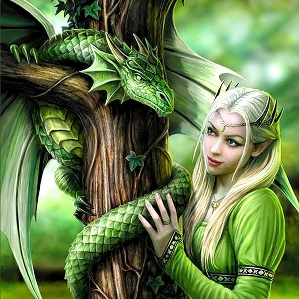 Diamond Painting drakenvrouw green