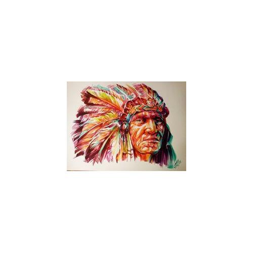 01-indians3 Diamond Painting ronde steentjes indianen gezicht