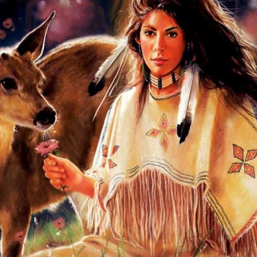 01-Indians2 Diamond Painting ronde steentjes indiaan met ree