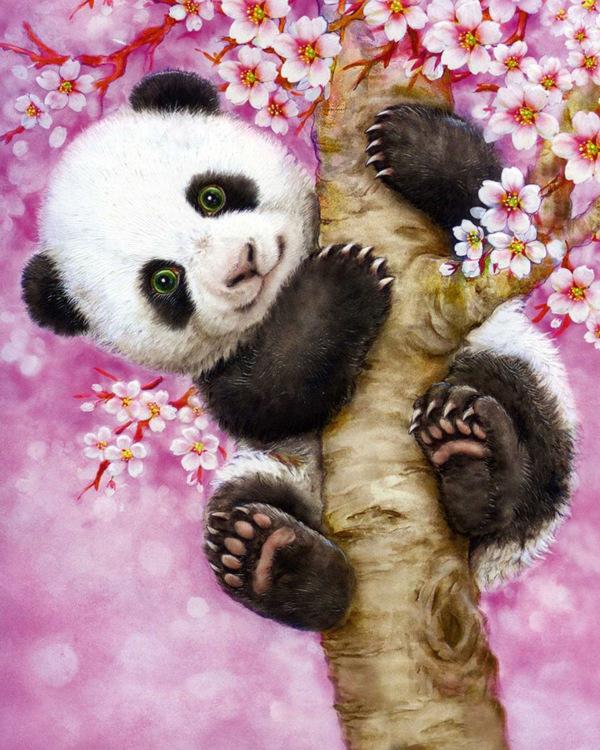 01-61111 Diamond Painting ronde steentjes panda in boom