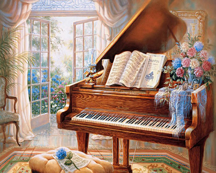 01-60762 Diamond Painting ronde steentjes piano