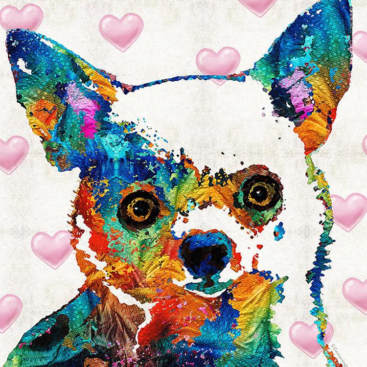 01-51810 Diamond Painting ronde steentjes fantasie hondje