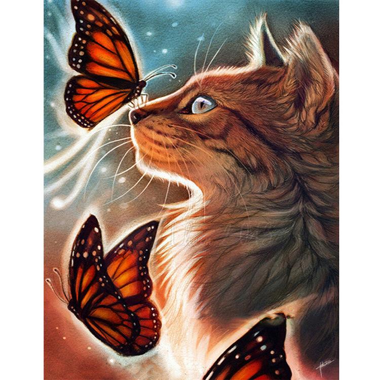 01-50633 Diamond Painting ronde steentjes poes met vlinders