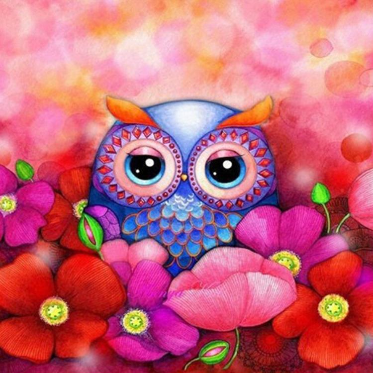 01-50371 Diamond Painting ronde steentjes uil met bloemen
