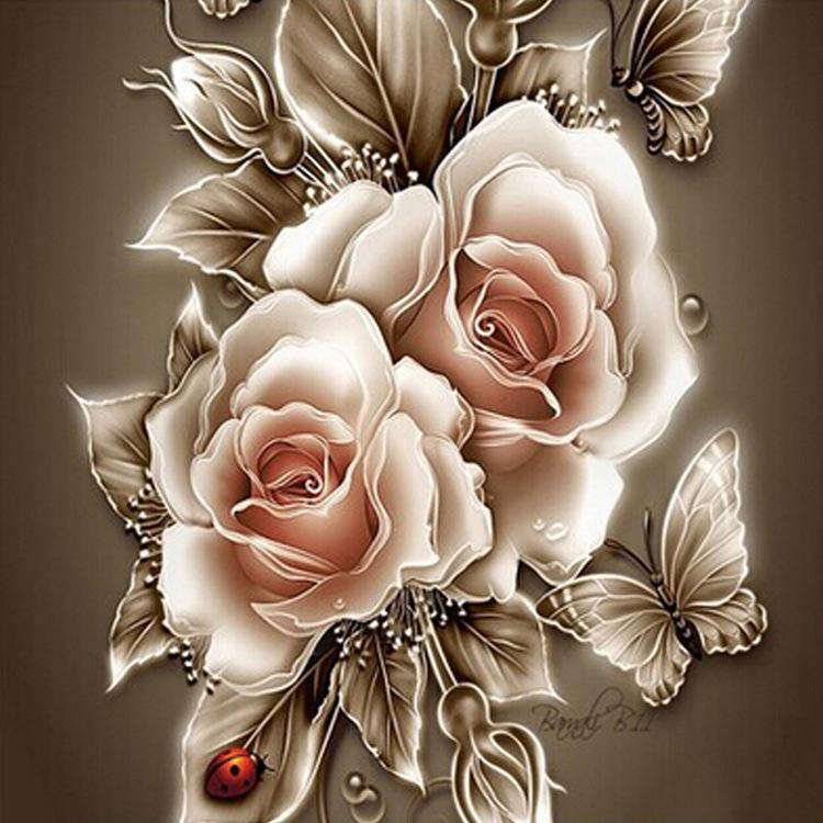01-50227 Diamond Painting ronde steentjes roos met vlinder