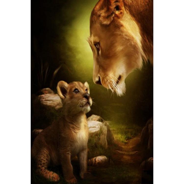 01-10082 Diamond Painting ronde steentjes leeuwin met welp