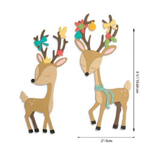 Sizzix Thinlits Die Set - Christmas Deer 10PK 664448 Jen Long (07-20)