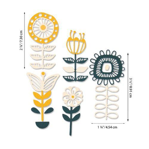 Sizzix Thinlits Die Set - Stackable Florals 13PK 664458 Jenna Rushforth (07-20)
