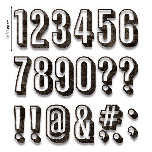 Sizzix Thinlits Die Set - Alphanumeric Shadow Numbers 21PK 664808 Tim Holtz (07-20)