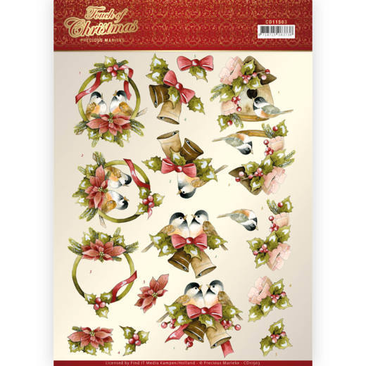 3D cutting sheet - Precious Marieke - Touch of Christmas - Birds