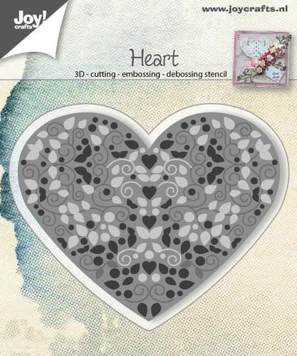Joy! crafts --Snij-embos-debosstencil   Hart gevuld met swirls en blaadjes