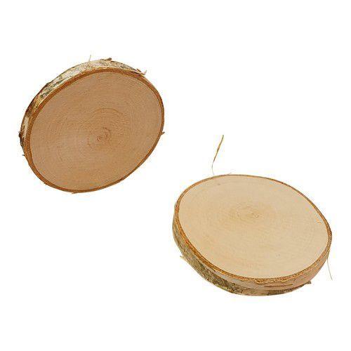 Boomschorsschijf rond berkenhout ; Diameter +- 5-6 CM H: +- 0,7 cm