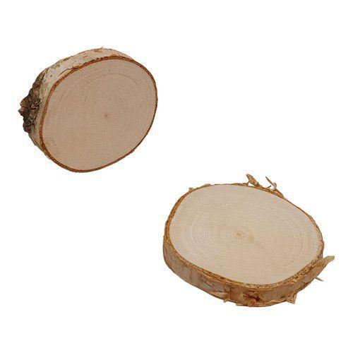 Boomschorsschijf rond berkenhout ; Diameter +- 9-10 CM H: +- 0,7 cm