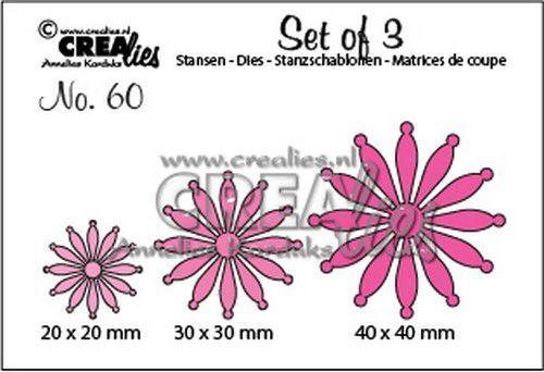 Crealies Set of 3 no. 60 dichte Bloemen 25 CLSet60 20 mm - 30 mm - 40 mm (07-20)