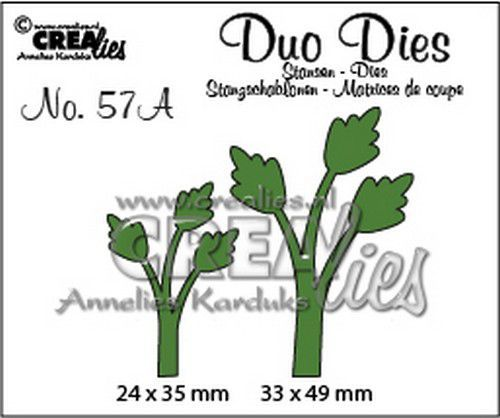 Crealies Duo Dies no.57a  blaadjes 11 spiegelbeeld CLDD57A 33 x 49 mm 24 x 35 mm  (07-20)