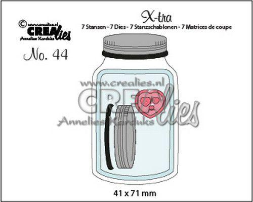 Crealies Xtra glazen pot met deksel middel CLXTRA44 41 x 71 mm (07-20)