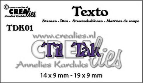 Crealies Texto Til / Tak (DK) TDK01  14 x 9 mm - 19 x 9 mm (07-20)