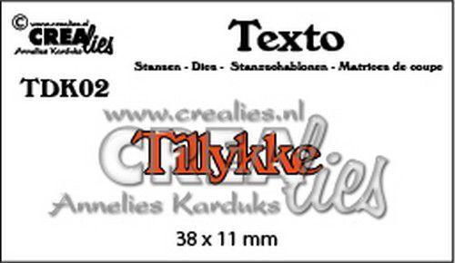 Crealies Texto  Tillykke (DK) TDK02  38 x 11 mm (07-20)