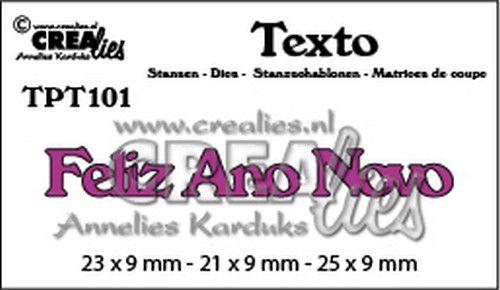 Crealies Texto  Feliz Ano Novo (PT) TPT101 23 x 9 mm - 21 x 9 mm - 25 x 9 mm (07-20)