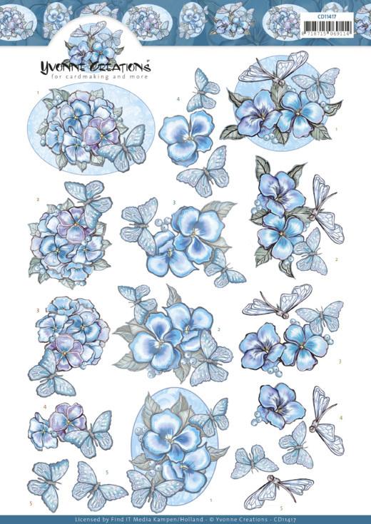 3D cutting sheet - Yvonne Creations -Blue Butterflies