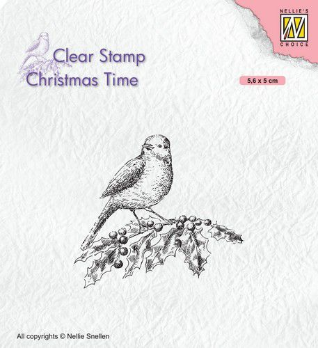 Nellies Choice Clearstempel - Christmas time - Vogel op hulst CT032 56x50mm (07-20)