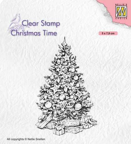 Nellies Choice Clearstempel - Christmas time - Kerstboom CT035 50x79mm (07-20)