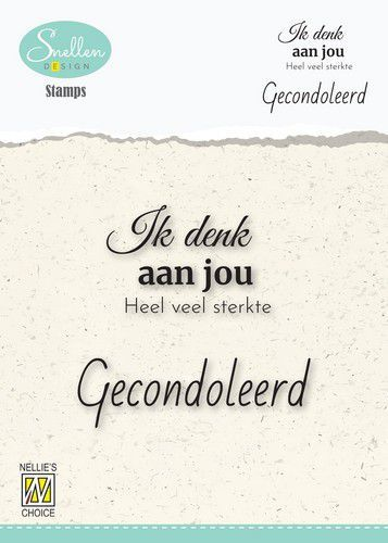 Nellie's Choice Clear Stamps - (NL) 	Ik denk aan jou Dutch Condolence Text Clear Stamps 60x68mm (07-