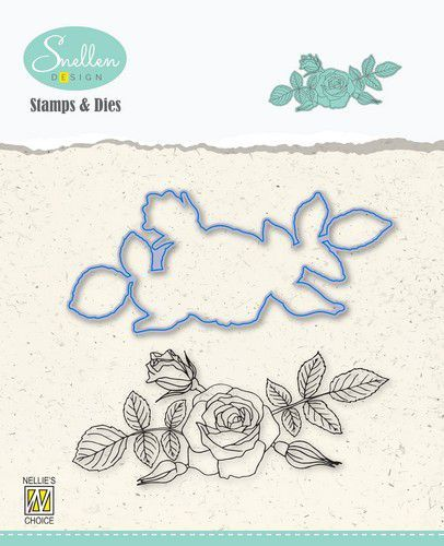 Nelie's Choice Flowers Die cut & clearstamp set Roos HDCS006 95x42mm (07-20)
