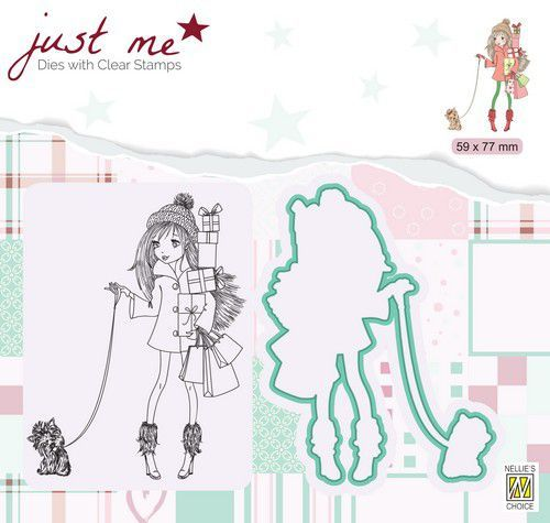 Nellie's Choice Just Me Die + Clear stamp Kerstshoppen JMSD005 59x75mm (07-20)