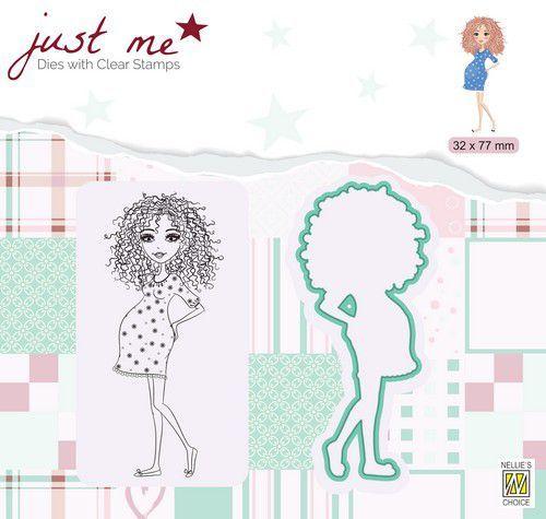 Nellie's Choice Just Me Die + Clear stamp Zwanger JMSD007 32x77mm (07-20)