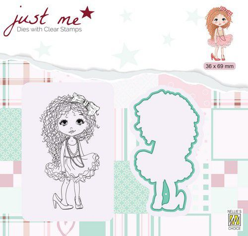 Nellie's Choice Just Me Die + Clear stamp Dame meisje JMSD008 36x69mm (07-20)
