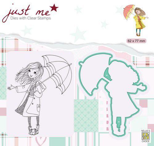 Nellie's Choice Just Me Die + Clear stamp Herfstweer JMSD009 62x77mm (07-20)