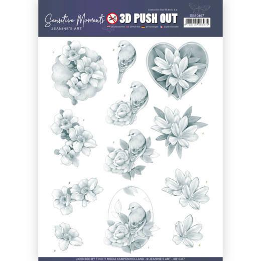 3D Push Out - Jeanine's Art - Sensitive Moments - Grey Rose
